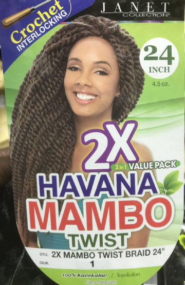 JANET COLLECTION NOIR 2X HAVANA MAMBO TWIST BRAID CROCHET INTERLOCKING 24""